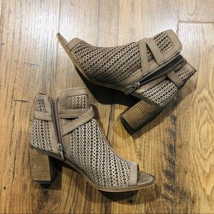 Vince Camuto Suede Booties in Stone Taupe (Tenay)